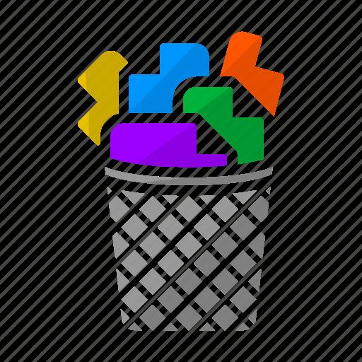 creative process, ideas, papers, process, trash, trash bin, trash can icon