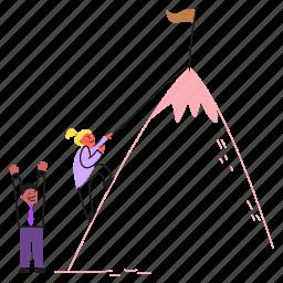 work, someone, climb, flag, goal, motivate, progress, encourage, mountain, effort