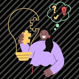 problem, solving, lightbulb, idea