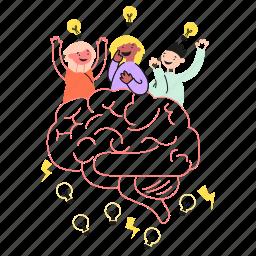 brain, brainstorm, solve, team, idea, collab, teamwork, bulb, brainstorming, light, work, solution