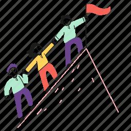 mountain, flag, collaborate, help, team, assist, colleague, employee, support, work, peak, goal