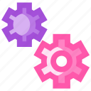 construction, equipment, gears, two, work icon