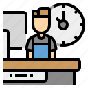 partime, shop, work, workday icon