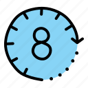 clock, eight, hours, labor, labour, wage, work icon
