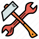 hammer, labor, labour, mechanic, repair, spanner, tools icon