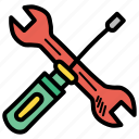 driver, labor, mechanic, repair, screw, spanner, tools icon