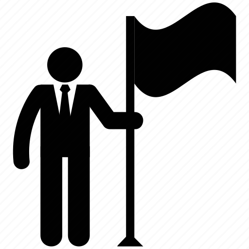 businessman, businessman silhouette, man with flag icon