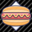 hotdog, sausage, snack