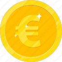 currency, euro, gold, gold coin, money icon