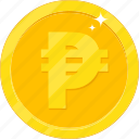 currency, gold, gold coin, money, peso icon