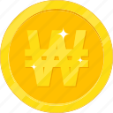 currency, gold, gold coin, money, won icon