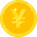 currency, gold, gold coin, money, yen icon
