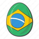 brazil, easter, egg, flag icon