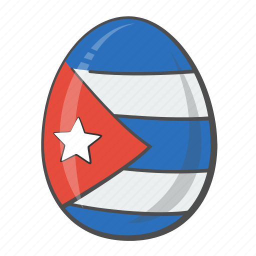 circle, cuba, egg, flag icon