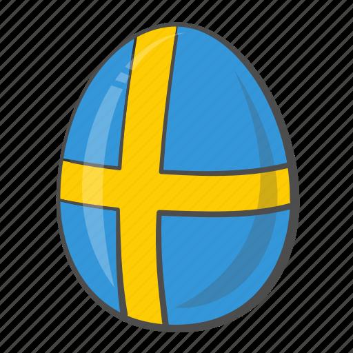 egg, flag, flags, sweden icon