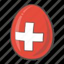 switzerland, flag, egg, country