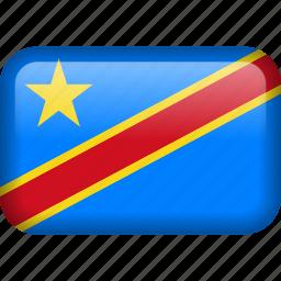 congo, country, democratic republic of the congo, flag icon