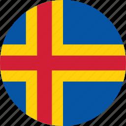 aland, aland flag, circle, circular, country, flag, flag of aland, flags, national, round, world icon