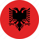 albania, albania flag, circle, circular, country, flag, flag of albania, flags, national, round, world icon
