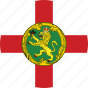alderney, alderney flag, circle, circular, country, flag, flag of alderney, flags, national, round, world icon