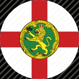 alderney, alderney flag, circle, circular, country, flag, flag of alderney, flags, national, round, world icon