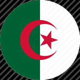 algeria, algeria flag, circle, circular, country, flag, flag of algeria, flags, national, round, world icon