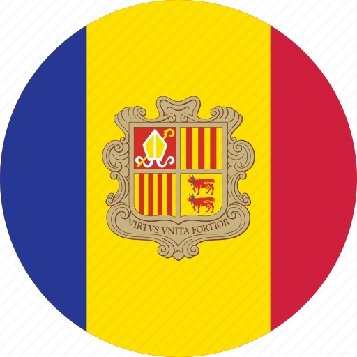 andorra, andorra flag, circle, circular, country, flag, flag of andorra, flags, national, round, world icon