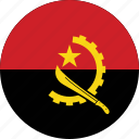 angola, angola flag, circle, circular, country, flag, flag of angola, flags, national, round, world icon