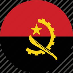 angola, angola flag, circle, circular, country, flag, flag of angola, flags, national, round, world icon