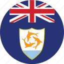 anguilla, anguilla flag, circle, circular, country, flag, flag of anguilla, flags, national, round, world icon