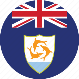 anguilla, anguilla flag, circle, circular, country, flag, flag of anguilla, flags, national, round, world icon