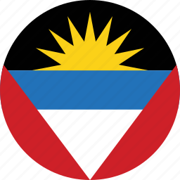 antigua, antigua and, antigua and barbuda, barbuda, circle, circular, country, flag, flag of antigua, flags, national, round, world icon