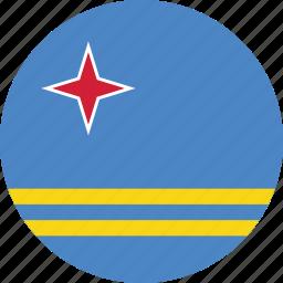aruba, aruba flag, circle, circular, country, flag, flag of aruba, flags, national, round, world icon