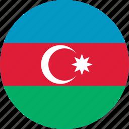 azerbaijan, azerbaijan flag, circle, circular, country, flag, flag of azerbaijan, flags, national, round, world icon