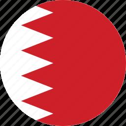 bahrain, bahrain flag, circle, circular, country, flag, flag of bahrain, flags, national, round, world icon