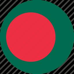 bangladesh, bangladesh flag, circle, circular, country, flag, flag of bangladesh, flags, national, round, world icon