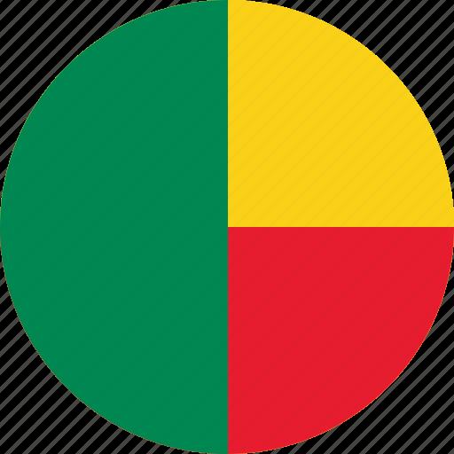 benin, benin flag, circle, circular, country, flag, flag of benin, flags, national, round, world icon