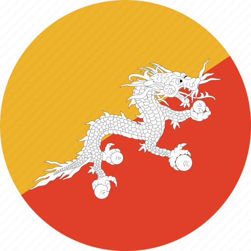 bhutan, bhutan flag, circle, circular, country, flag, flag of bhutan, flags, national, round, world icon