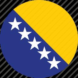 bosnia, bosnia and, bosnia and herzegovina, circle, circular, country, flag, flag of bosnia, flags, herzegovina, national, round, world icon