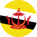 brunei, brunei flag, circle, circular, country, flag, flag of brunei, flags, national, round, world icon