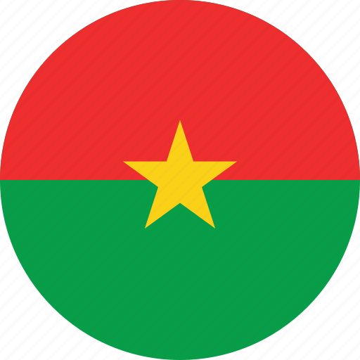 burkina, burkina faso, circle, circular, country, faso, flag, flag of burkina, flags, national, round, world icon