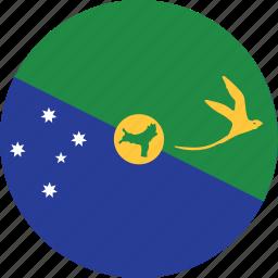 christmas, christmas island, circle, circular, country, flag, flag of christmas, flags, island, national, round, world icon