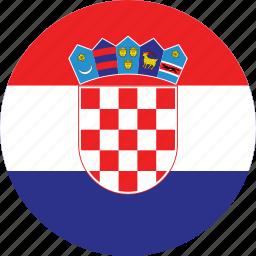 circle, circular, country, croatia, croatia flag, flag, flag of croatia, flags, national, round, world icon