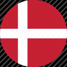 circle, circular, country, denmark, denmark flag, flag, flag of denmark, flags, national, round, world icon