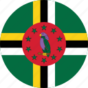 circle, circular, country, dominica, dominica flag, flag, flag of dominica, flags, national, round, world icon