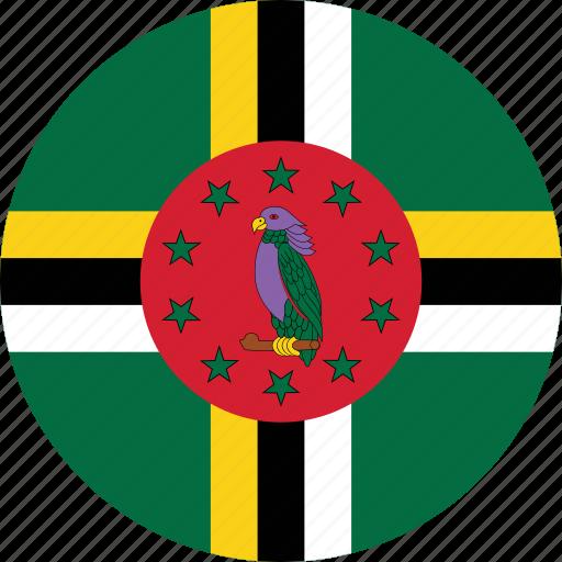 circle, circular, country, dominica, dominica flag, flag, flag of dominica, flags, national, round, world icon