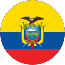 circle, circular, country, ecuador, ecuador flag, flag, flag of ecuador, flags, national, round, world icon