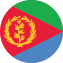 circle, circular, country, eritrea, eritrea flag, flag, flag of eritrea, flags, national, round, world icon