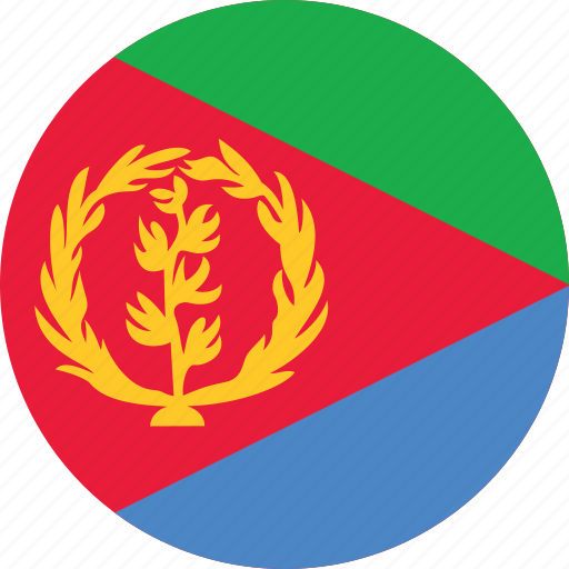 circle, circular, country, eritrea, eritrea flag, flag, flag of eritrea, flags, national, round, world icon