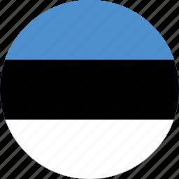 circle, circular, country, estonia, estonia flag, flag, flag of estonia, flags, national, round, world icon